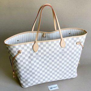 Louis Vuitton Neverfull GM Azur Beige Tote Bag